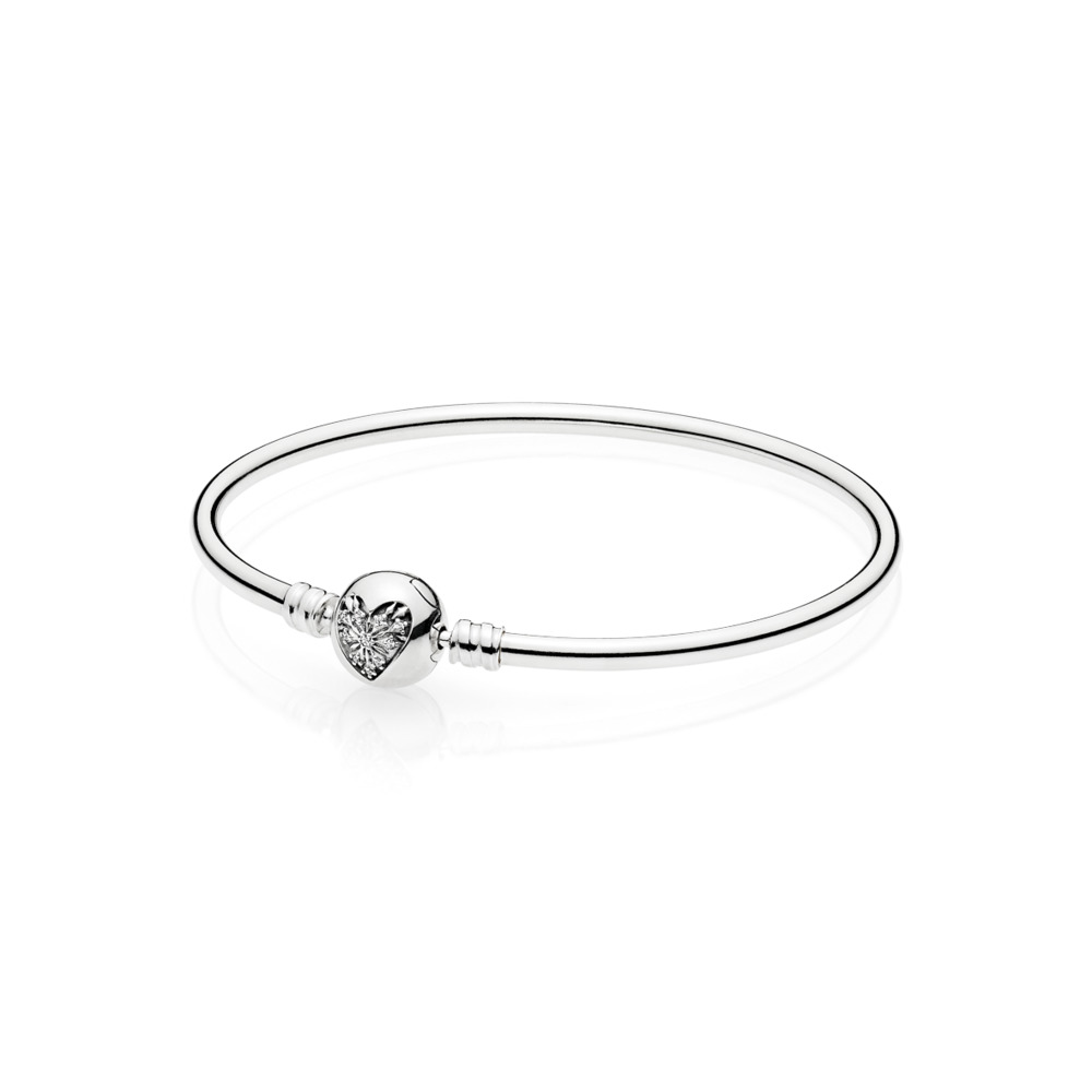 Moments Silver Bangle,  Heart of Winter Clasp, Sterling silver, Cubic Zirconia - PANDORA - #596404CZ