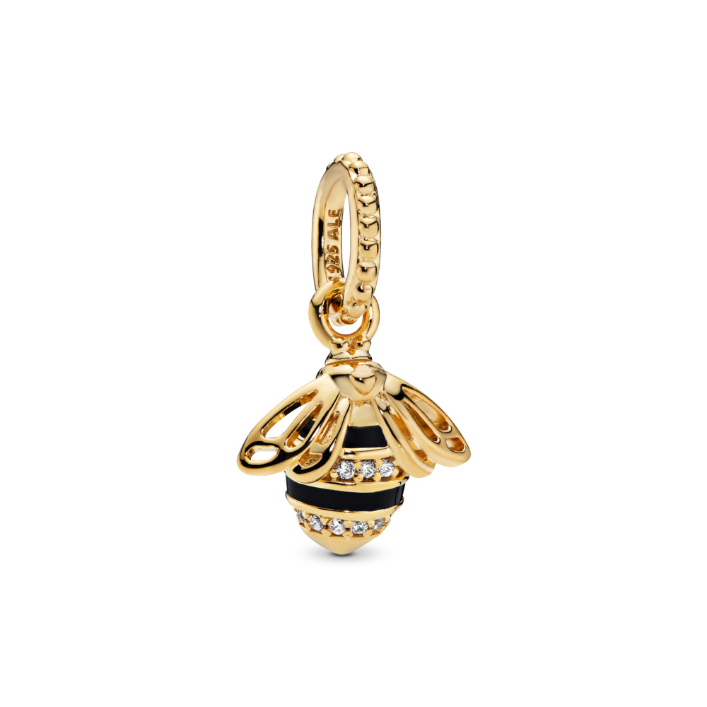 Queen Bee Pendant, PANDORA Shine™, Black Enamel & Clear CZ, 18ct Gold Plated, Enamel, Black, Cubic Zirconia - PANDORA - #367075EN16