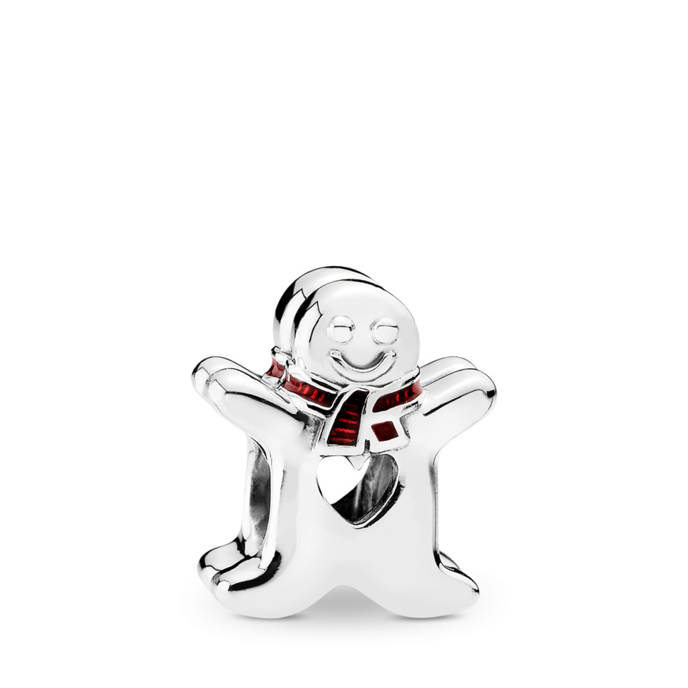 Sweet Gingerbread Man Charm, Translucent Red Enamel, Sterling silver, Enamel, Red - PANDORA - #792002EN07