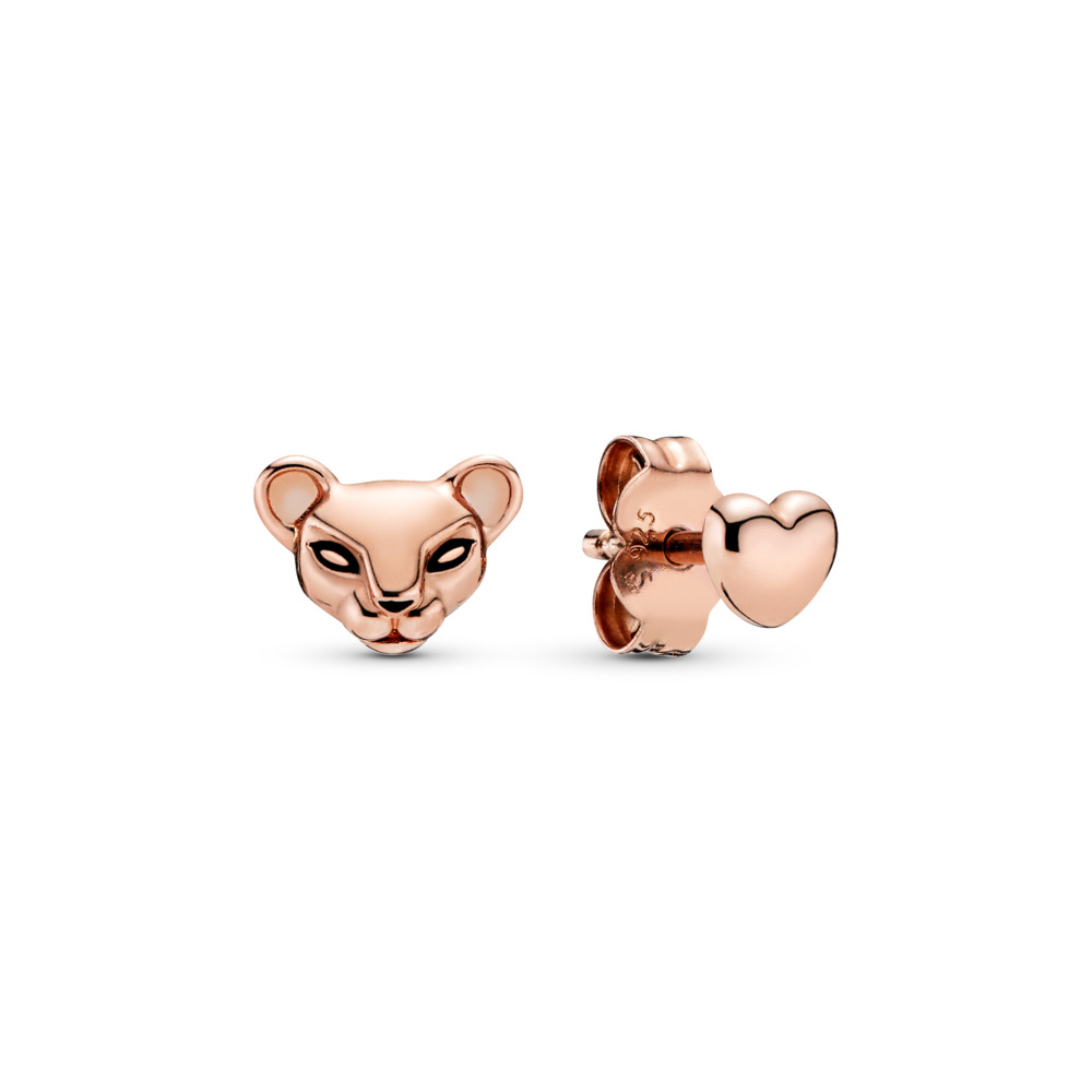 Lion Princess & Heart Stud Earrings, Pandora Rose™, PANDORA Rose, Enamel, Black - PANDORA - #288022EN16