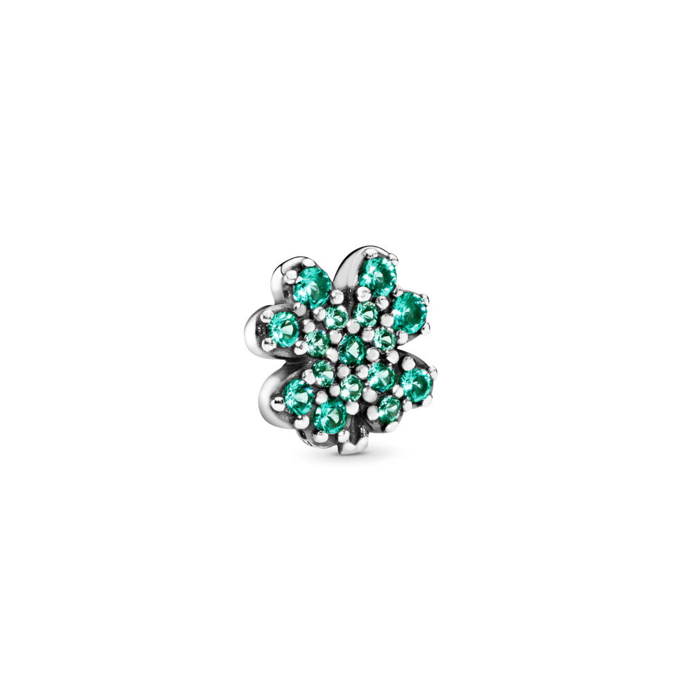 Radiant Green Clover Petite Charm, Sterling silver, Green, Crystal - PANDORA - #797867NRG