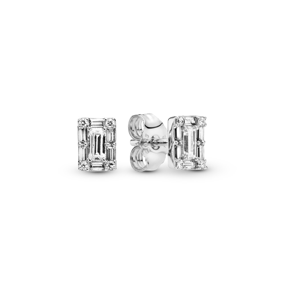 Luminous Ice Stud Earrings, Clear CZ, Sterling silver, Cubic Zirconia - PANDORA - #297567CZ