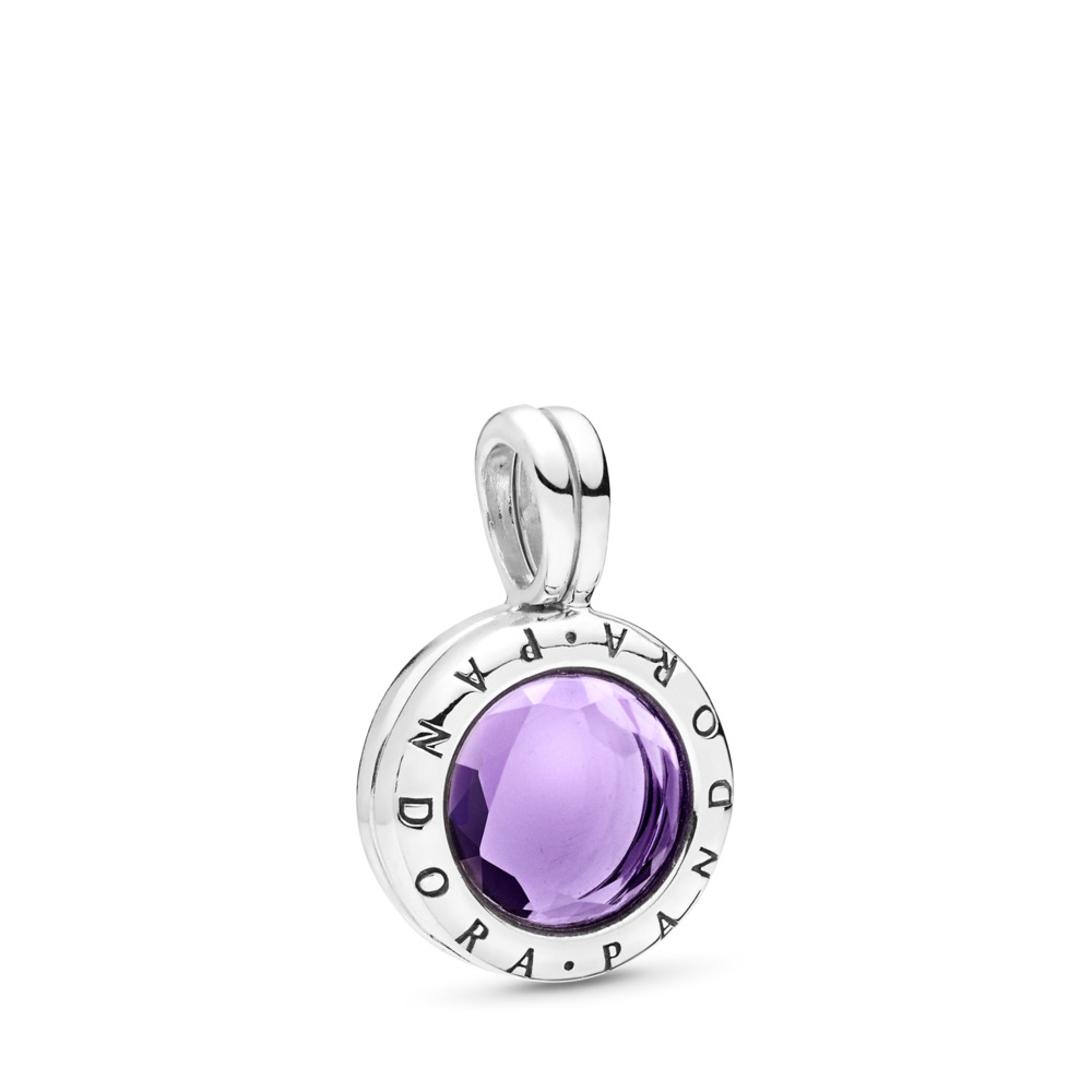 PANDORA Faceted Locket Dangle Charm, Synthetic Amethyst, Sterling silver, Purple, Synthetic Amethyst - PANDORA - #797662SAM
