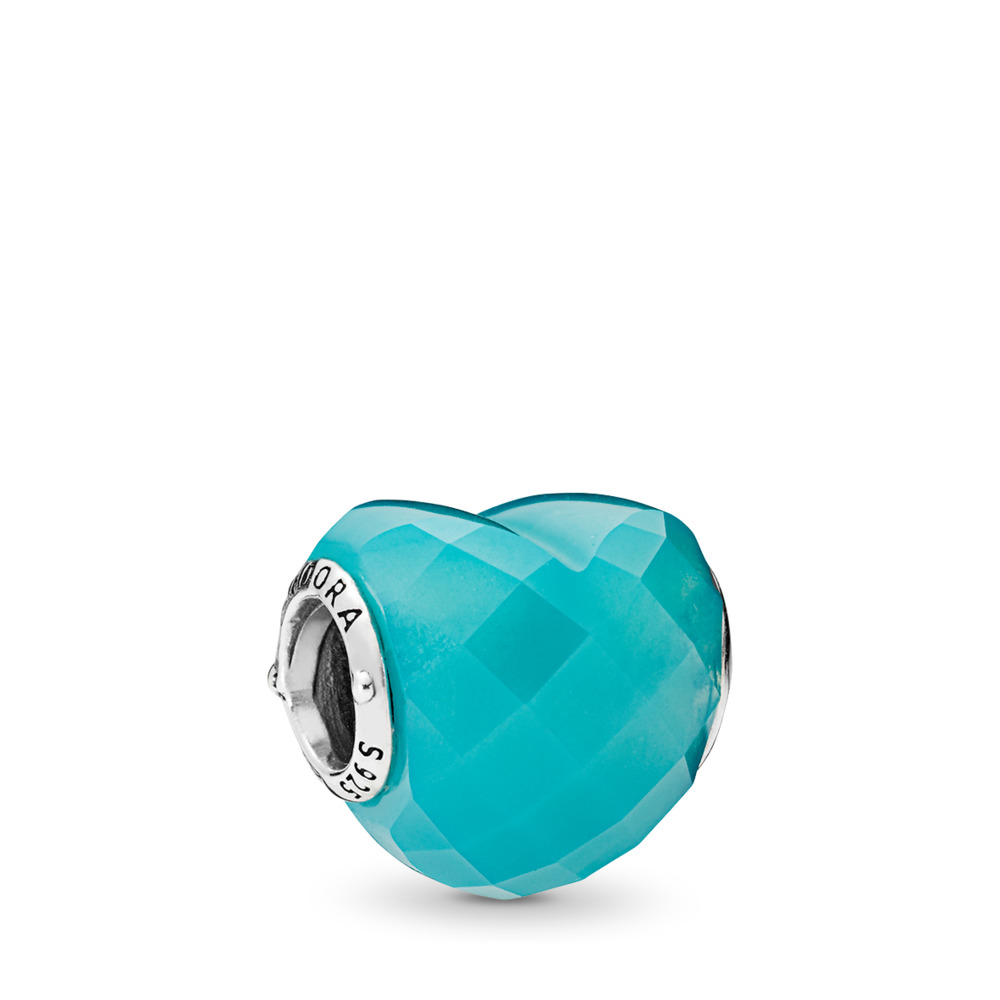 Shape of Love Charm, Scuba Blue Crystal, Sterling silver, Blue, Crystal - PANDORA - #796563NSC