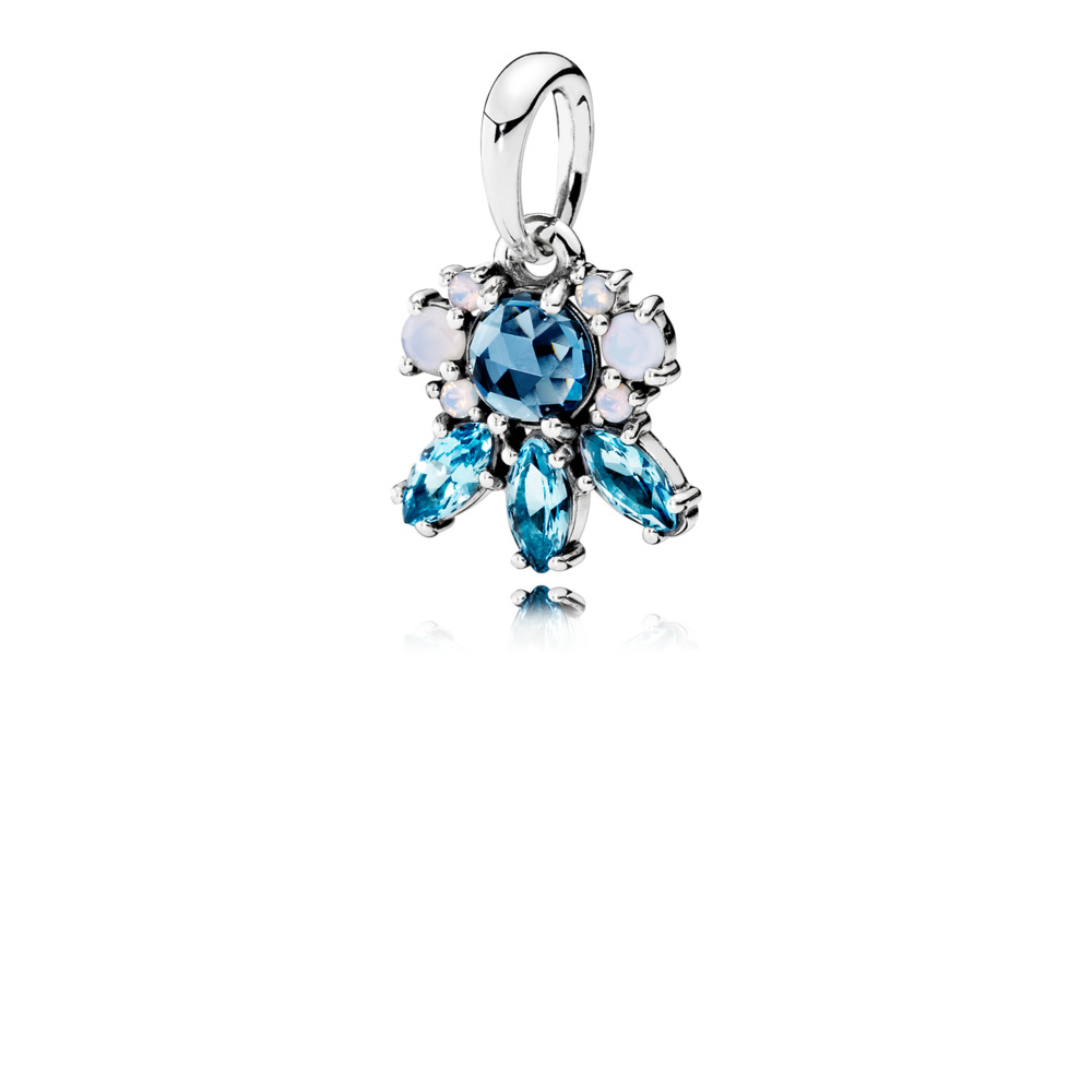 판도라 PANDORA Patterns of Frost Pendant, Multi-Colored Crystal Sterling silver, Blue, Crystal