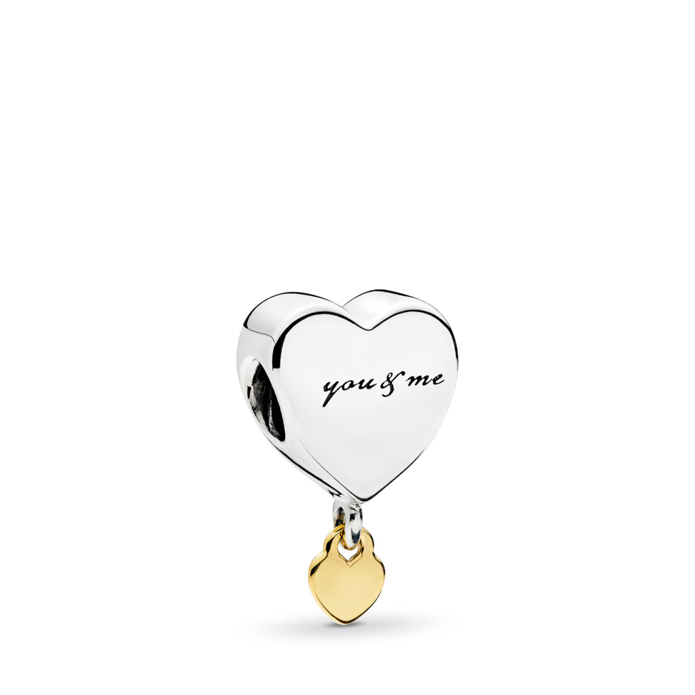 Two Hearts Dangle Charm, Two Tone - PANDORA - #796558