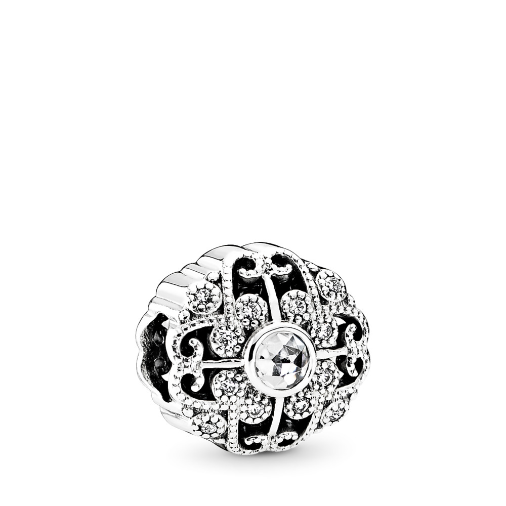 Fairytale Bloom Charm, Clear CZ, Sterling silver, Cubic Zirconia - PANDORA - #791961CZ