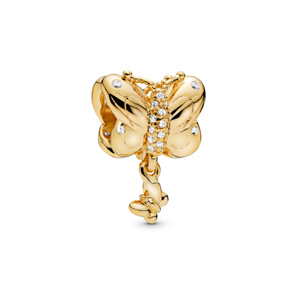 Decorative Butterfly Charm, Pandora Shine™, 18ct Gold Plated, Cubic Zirconia - PANDORA - #767899CZ