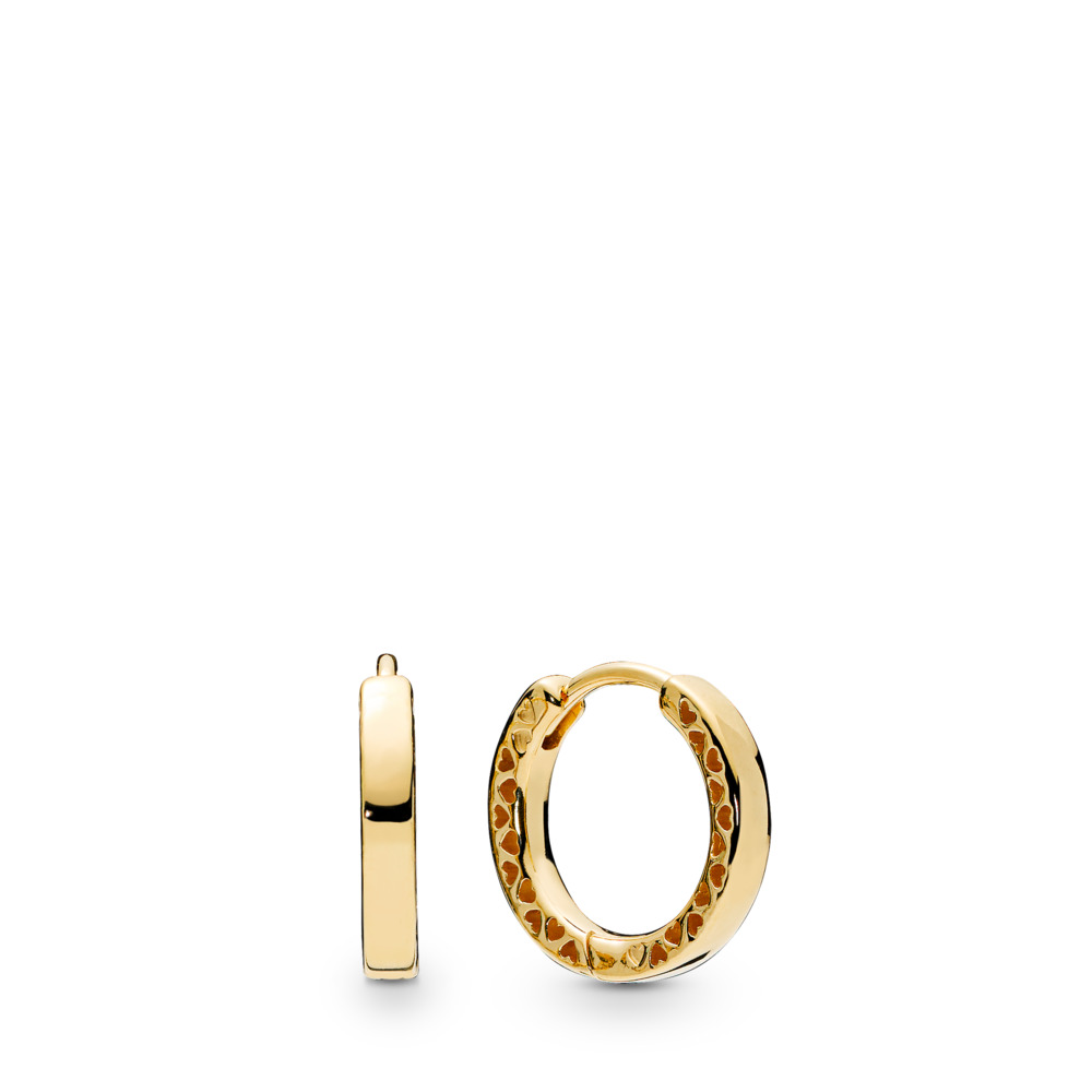 Hearts of Pandora Hoop Earrings, Pandora Shine™, 18ct Gold Plated - PANDORA - #267939