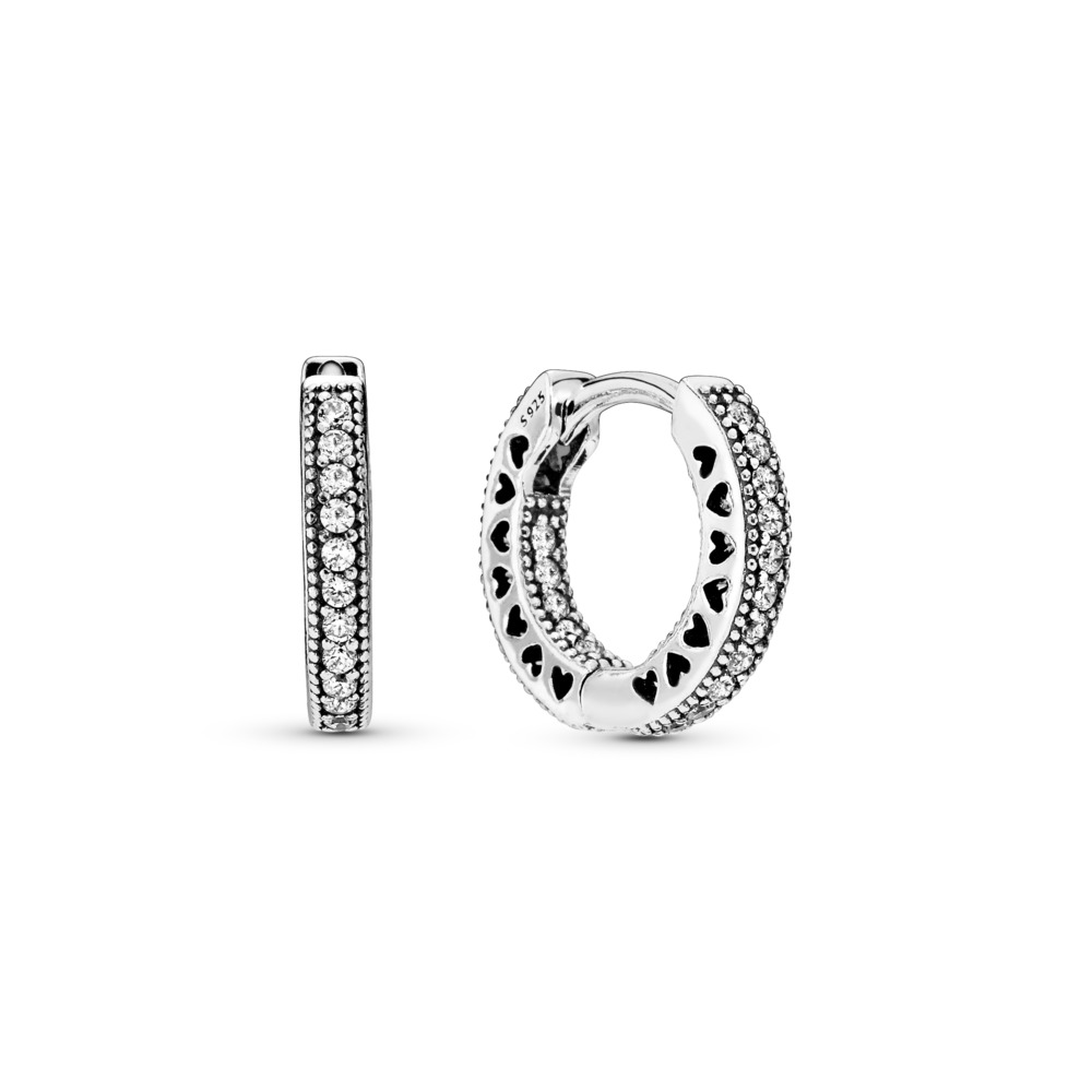 Hearts of PANDORA Hoop Earrings, Clear CZ, Sterling silver, Cubic Zirconia - PANDORA - #296317CZ