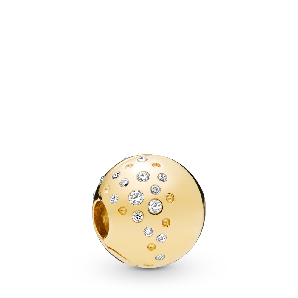Scattered Sparkle Clip, Pandora Shine™, 18ct Gold Plated, Cubic Zirconia - PANDORA - #767900CZ