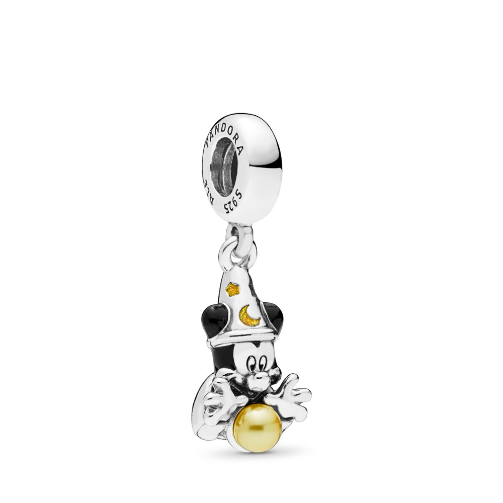 Disney, Sorcerer Mickey Dangle Charm, Sterling silver, Enamel, Black, Crystal Pearl - PANDORA - #797493ENMX