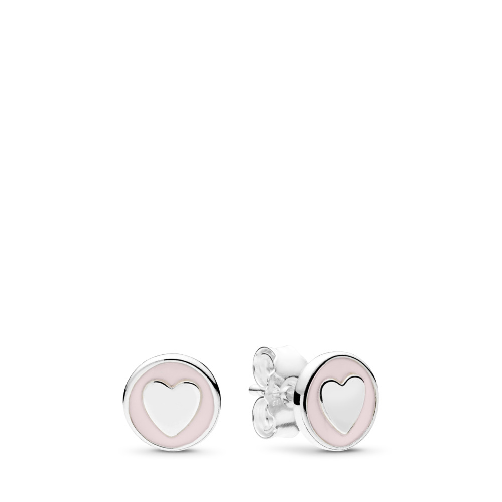 Sweet Statements Stud Earrings, Pale Pink Enamel, Sterling silver, Enamel, Pink, Mixed stones - PANDORA - #297275EN160