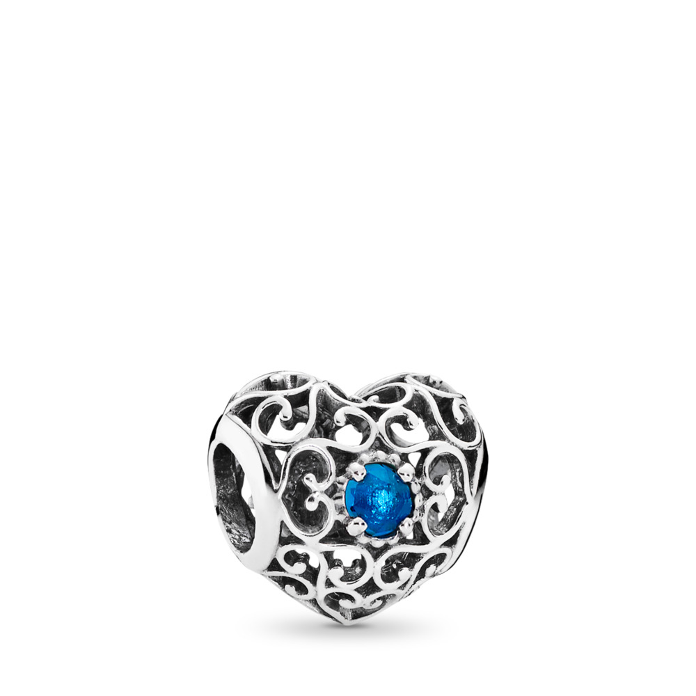 December Signature Heart Charm, London Blue Crystal, Sterling silver, Blue, Crystal - PANDORA - #791784NLB
