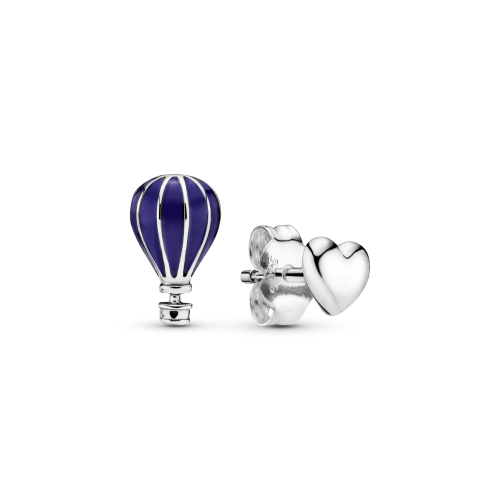Hot Air Balloon & Heart Stud Earrings, Sterling silver, Enamel, Blue - PANDORA - #298058EN195