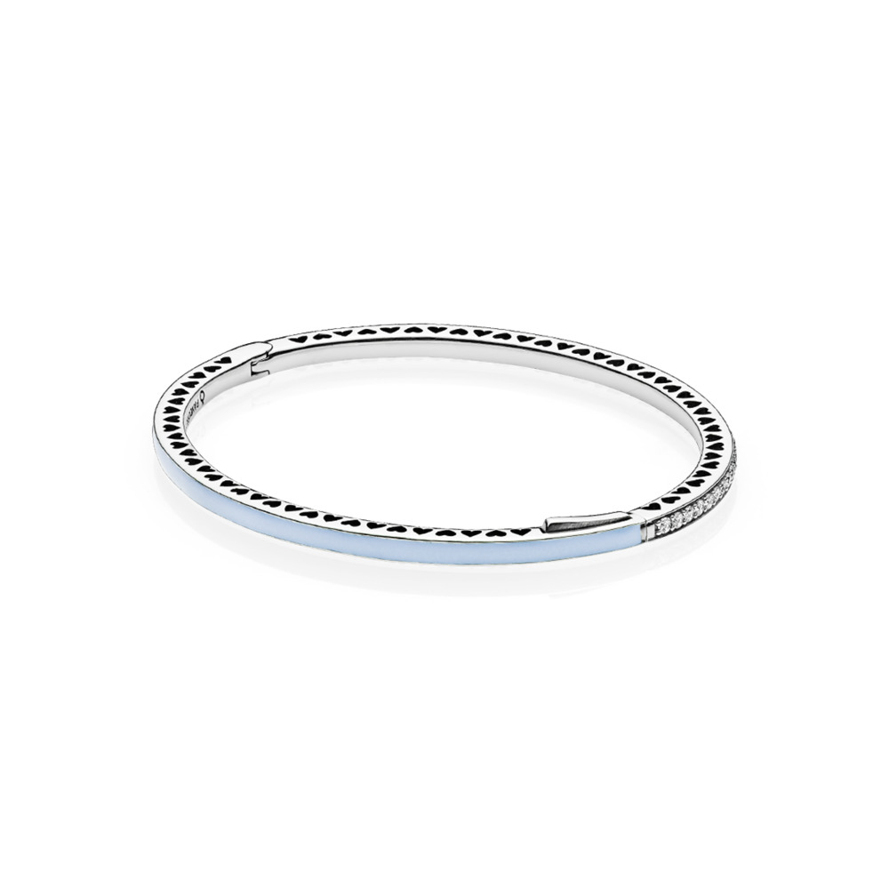 Radiant Hearts of PANDORA Bangle Bracelet, Air Blue Enamel & Clear CZ, Sterling silver, Enamel, Blue, Cubic Zirconia - PANDORA - #590537EN131