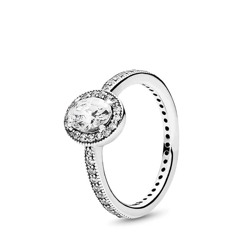Vintage Elegance Ring, Clear CZ, Sterling silver, Cubic Zirconia - PANDORA - #191017CZ