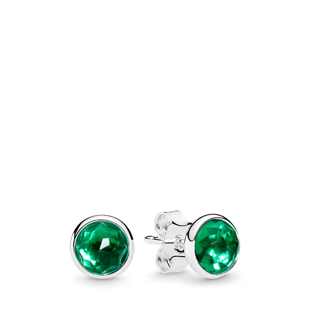 May Droplets Stud Earrings, Royal-Green Crystal, Sterling silver, Green, Crystal - PANDORA - #290738NRG