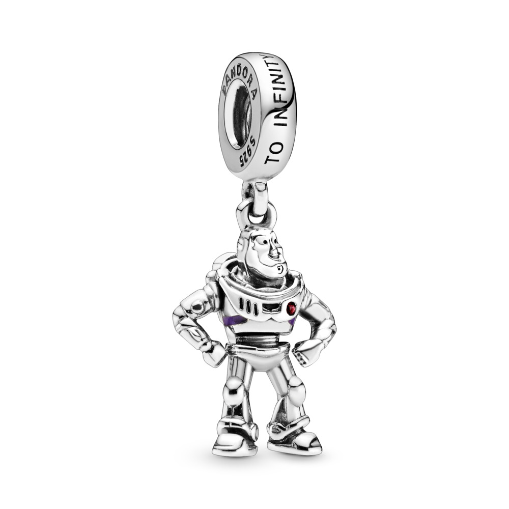 Disney Pixar, Toy Story, Buzz Lightyear Dangle Charm, Sterling silver, Enamel, Purple, Cubic Zirconia - PANDORA - #798042CZR