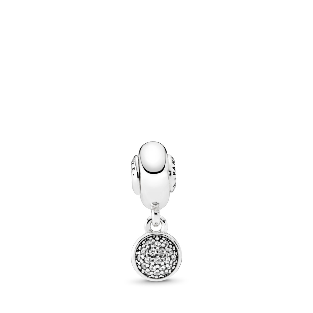 HOPE Dangle Charm, Clear CZ, Sterling silver, Silicone, Cubic Zirconia - PANDORA - #796090CZ