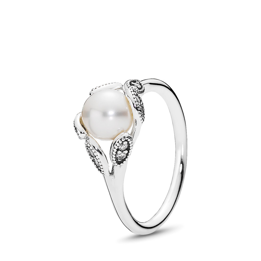 판도라 PANDORA Luminous Leaves Ring, White Pearl & Clear CZ Sterling silver, Mixed stones