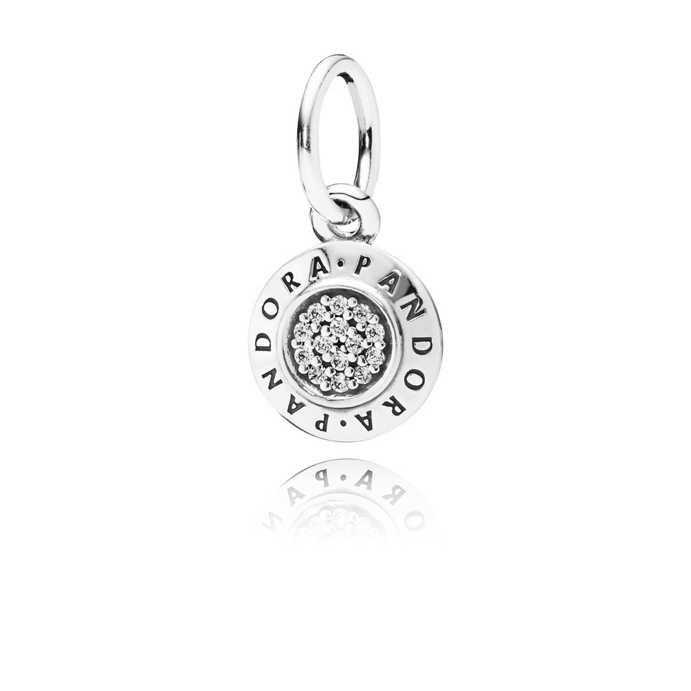 판도라 PANDORA Signature Pendant, Clear CZ Sterling silver, Cubic Zirconia