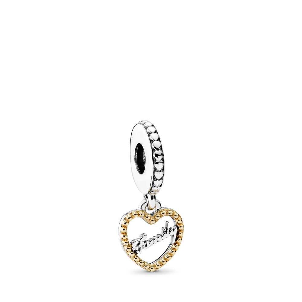 Family Script Dangle Charm, Two Tone - PANDORA - #792011