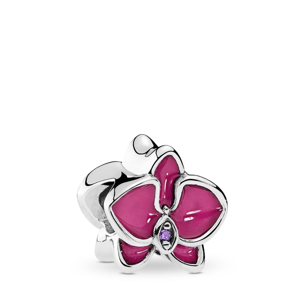 판도라 PANDORA Orchid Charm, Radiant Orchid Enamel & Purple CZ Sterling silver, Enamel, Pink, Cubic Zirconia