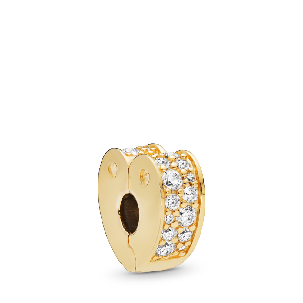 Sparkling Arcs of Love Clip, PANDORA Shine™ & Clear CZ, 18ct Gold Plated, Silicone, Cubic Zirconia - PANDORA - #767020CZ