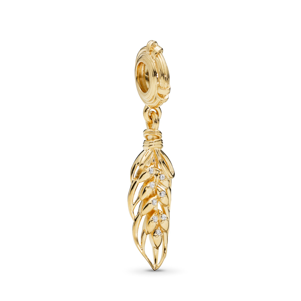 Floating Grains Dangle Charm, PANDORA Shine™ & Clear CZ, 18ct Gold Plated, Cubic Zirconia - PANDORA - #767586CZ