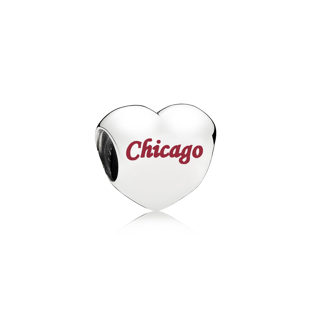 Chicago Heart Charm, Red Enamel, Sterling silver, Enamel, Red - PANDORA - #ENG790137_17