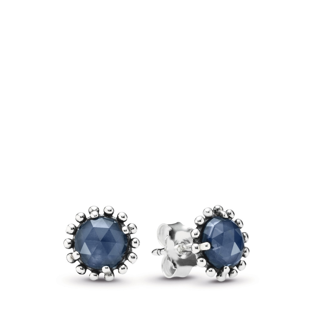 판도라 PANDORA Midnight Star Stud Earrings, Midnight Blue Crystal Sterling silver, Blue, Crystal
