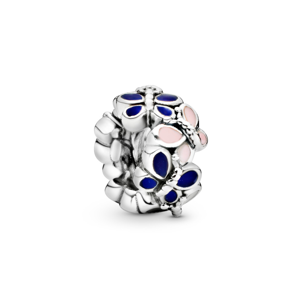 Butterfly Arrangement Spacer, Sterling silver, Enamel, Blue - PANDORA - #797870ENMX