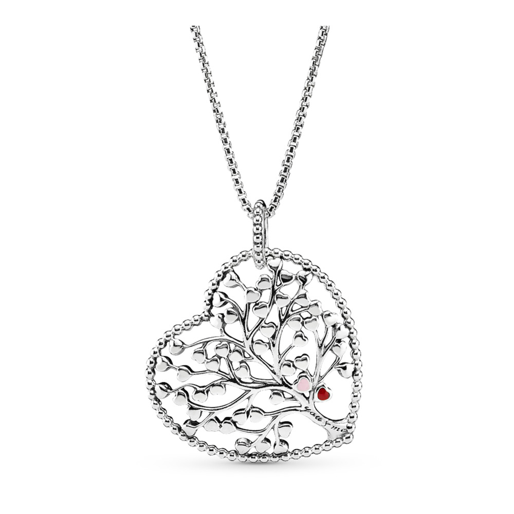 Family Tree Heart Necklace, Sterling silver, Mixed Material, Pink - PANDORA - #396582ENMX
