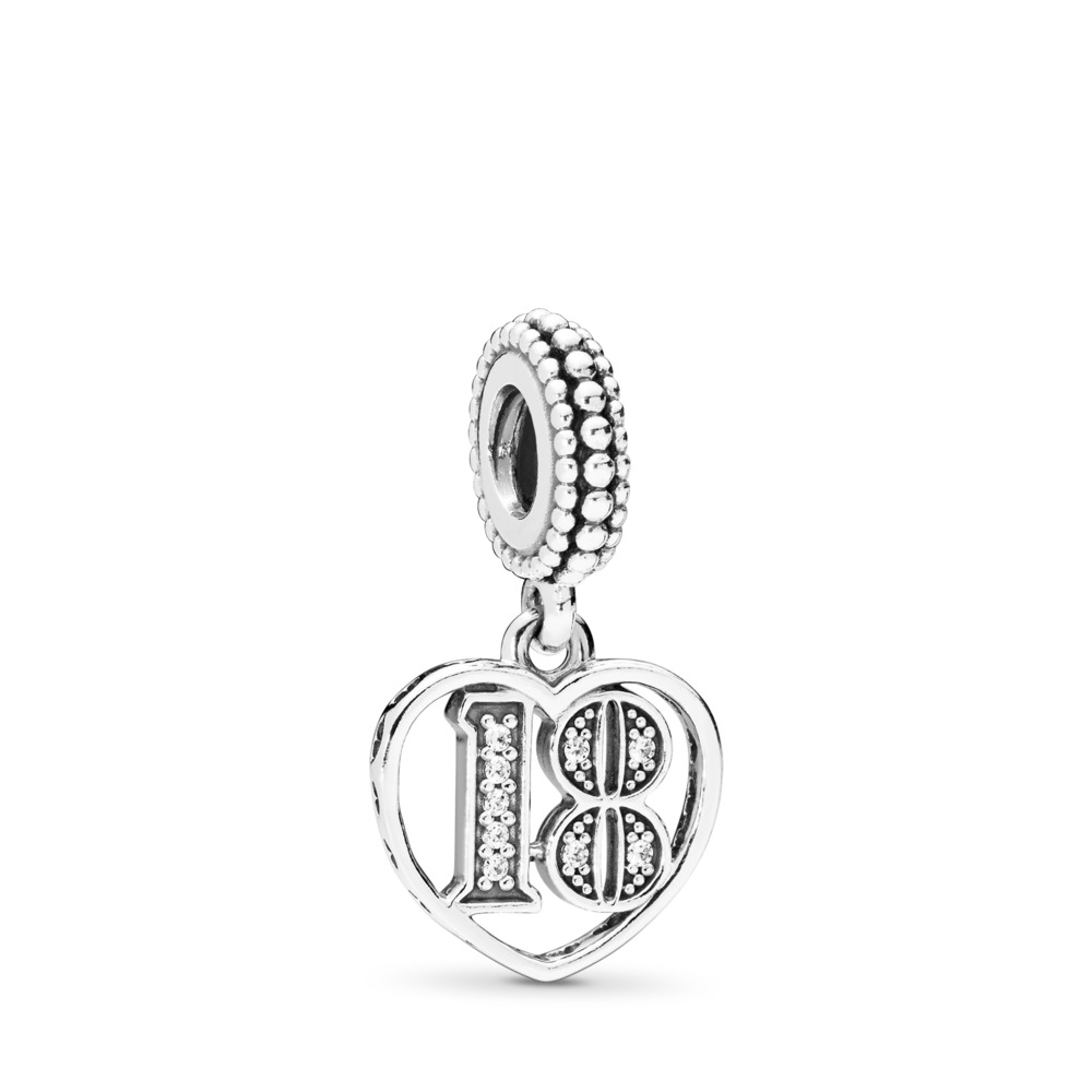 18 Years of Love Dangle Charm, Clear CZ, Sterling silver, Cubic Zirconia - PANDORA - #797262CZ