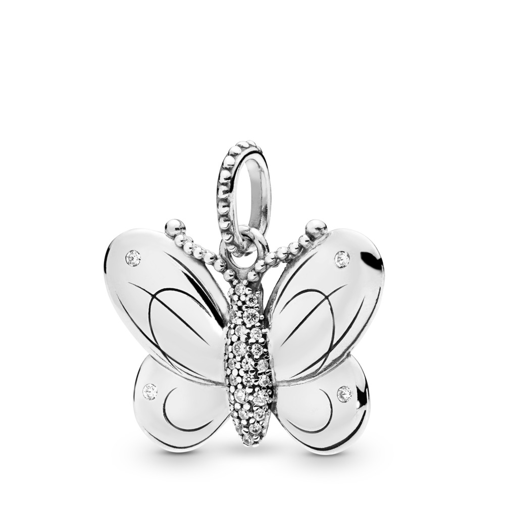 Decorative Butterfly Pendant, Sterling silver, Cubic Zirconia - PANDORA - #397933CZ