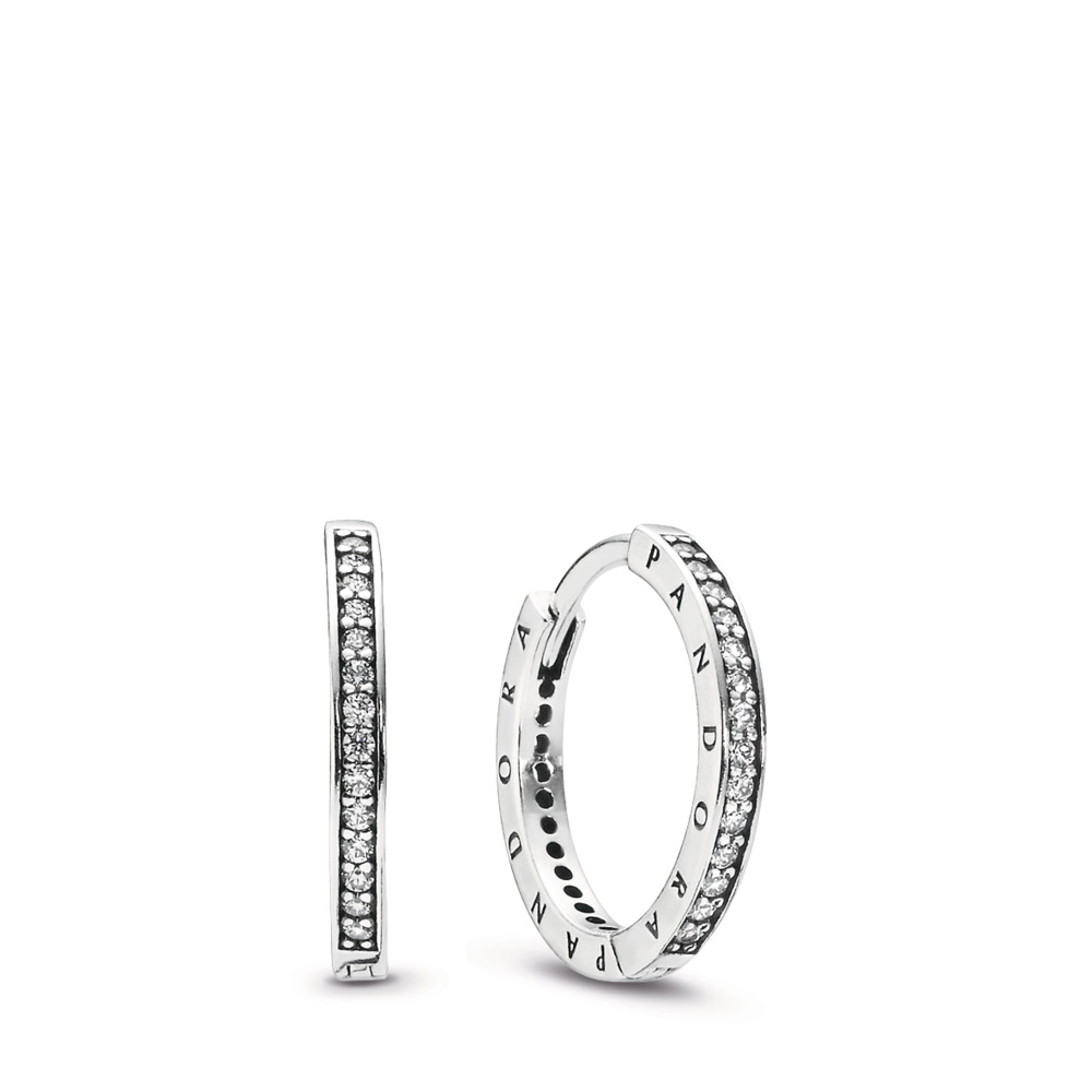 PANDORA Signature Hoop Earrings, Clear CZ, Sterling silver, Cubic Zirconia - PANDORA - #290558CZ