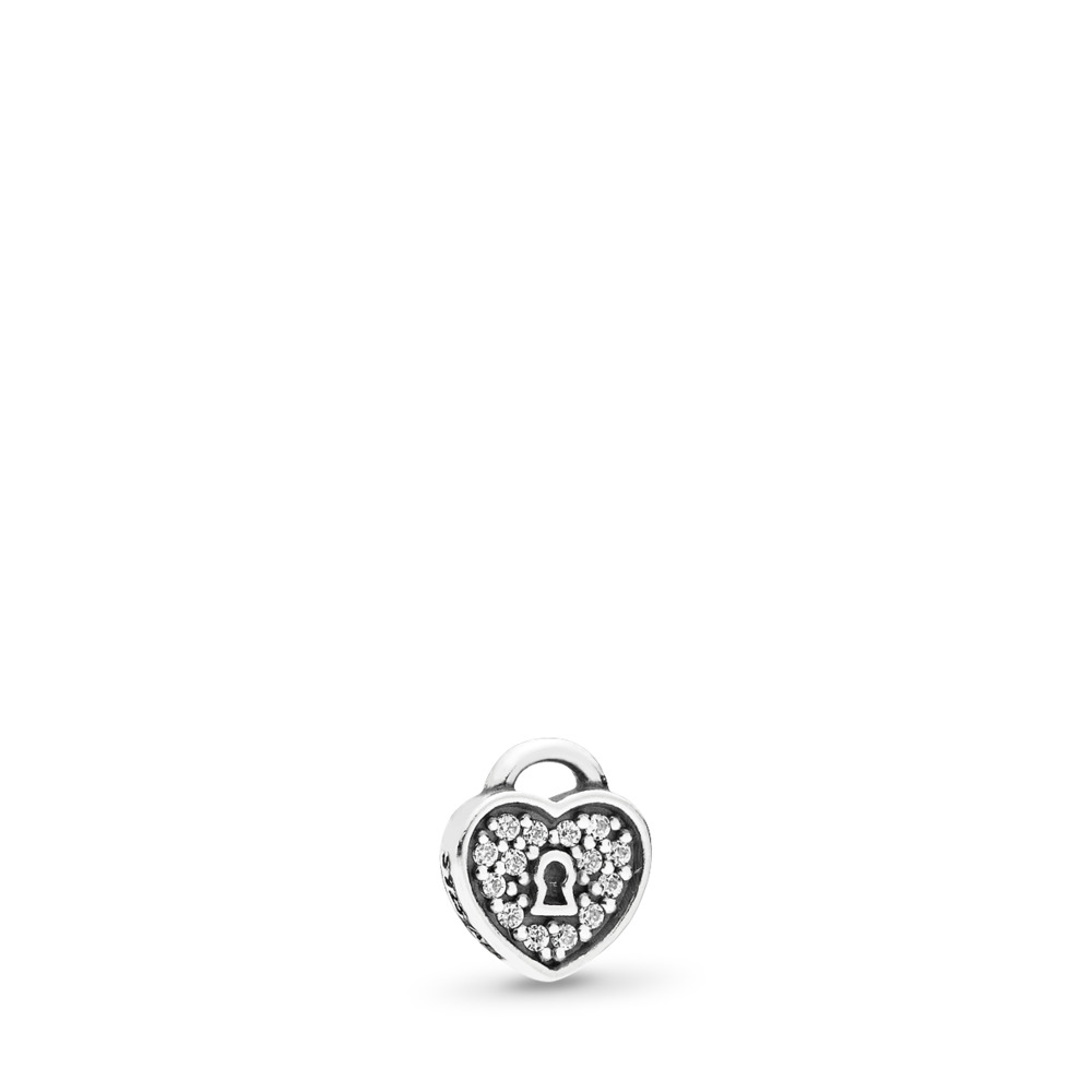 Lock of Love Petite Locket Charm, Sterling silver, Cubic Zirconia - PANDORA - #792162CZ