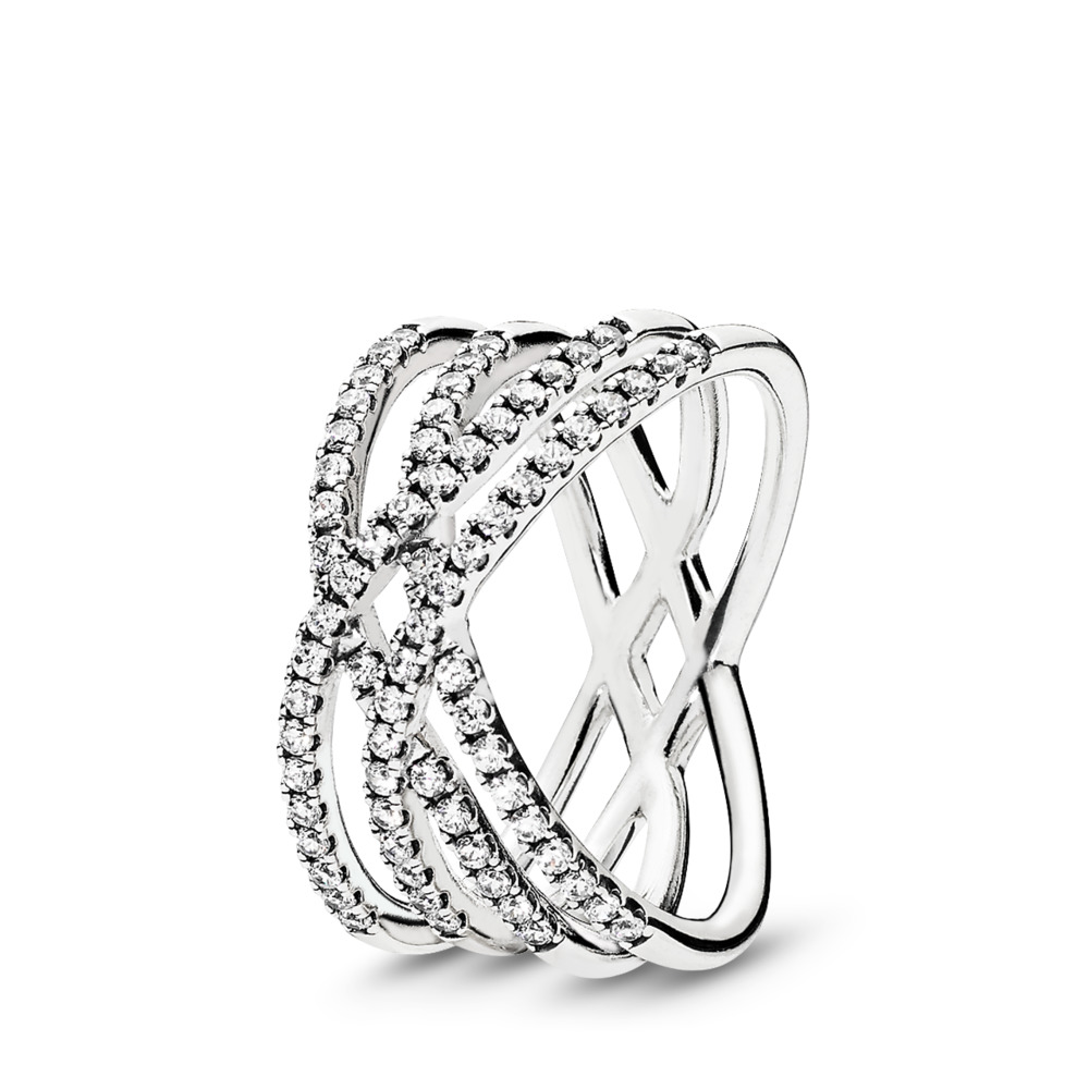 Cosmic Lines Ring, Clear CZ, Sterling silver, Cubic Zirconia - PANDORA - #196401CZ