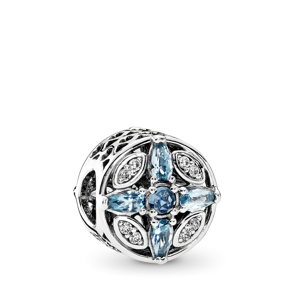 판도라 PANDORA Patterns of Frost Charm, Multi-Colored Crystal & Clear CZ Sterling silver, Blue, Mixed stones