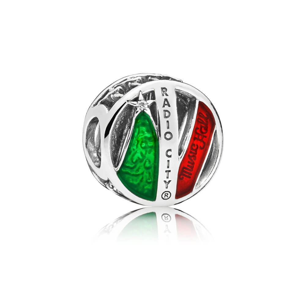 Limited Edition 2018 Radio City Music Hall Charm & Porcelain Keepsake, Sterling Silver, Enamel, Green, Cubic Zirconia - PANDORA - #B800997
