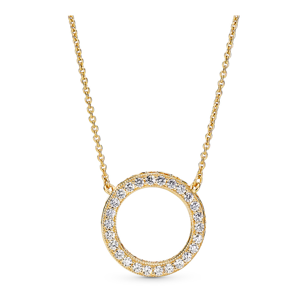 Hearts of PANDORA Necklace, PANDORA Shine™ & Clear CZ, 18ct Gold Plated, Cubic Zirconia - PANDORA - #367121CZ