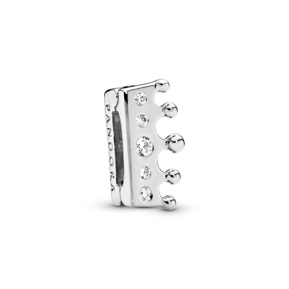 PANDORA Reflexions™ Crown Clip Charm, Clear CZ, Sterling silver, Silicone, Cubic Zirconia - PANDORA - #797599CZ
