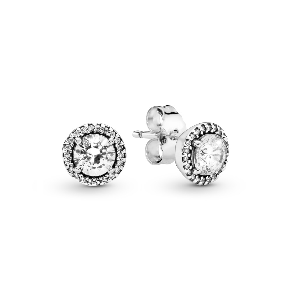 Classic Elegance Stud Earrings, Clear CZ, Sterling silver, Cubic Zirconia - PANDORA - #296272CZ