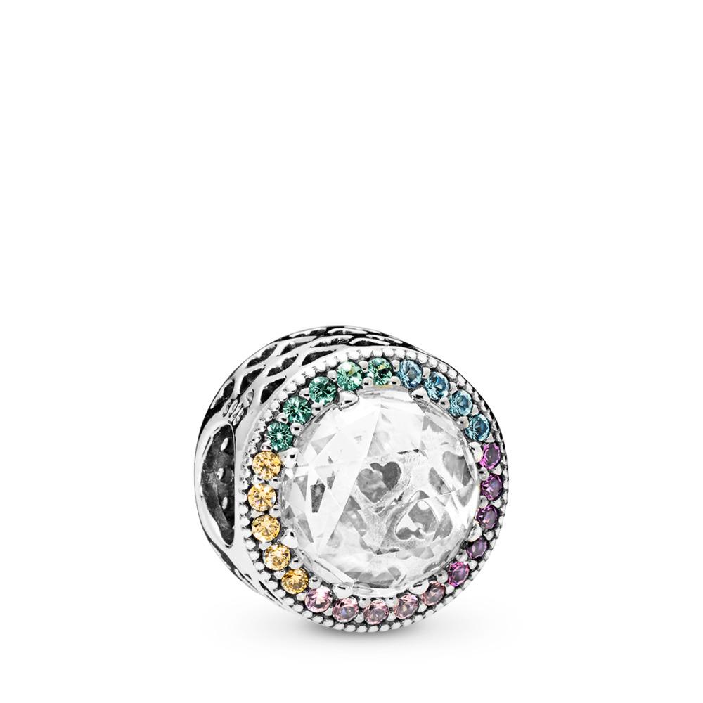 판도라 PANDORA Multi-Color Radiant Hearts Charm, Multi-Colored CZ Sterling silver, Blue, Mixed stones