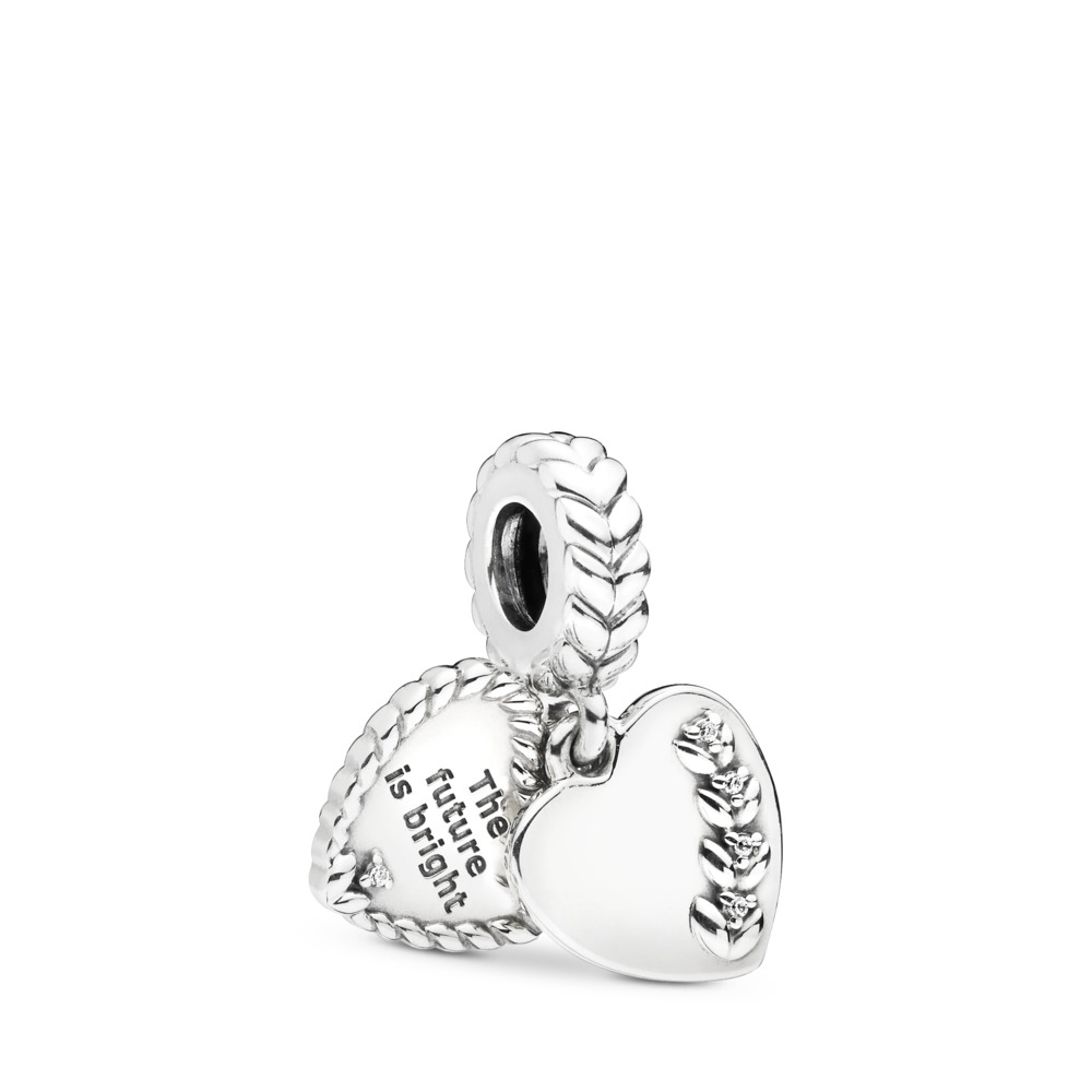 Bright Seeds Dangle Charm, Clear CZ, Sterling silver, Cubic Zirconia - PANDORA - #797581CZ
