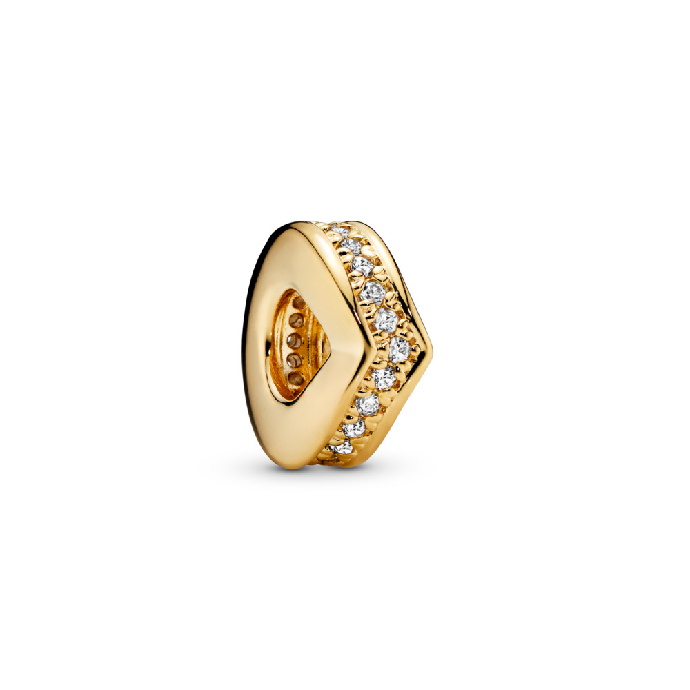 Shimmering Wish Spacer, PANDORA Shine™ & Clear CZ, 18ct Gold Plated, Cubic Zirconia - PANDORA - #767808CZ