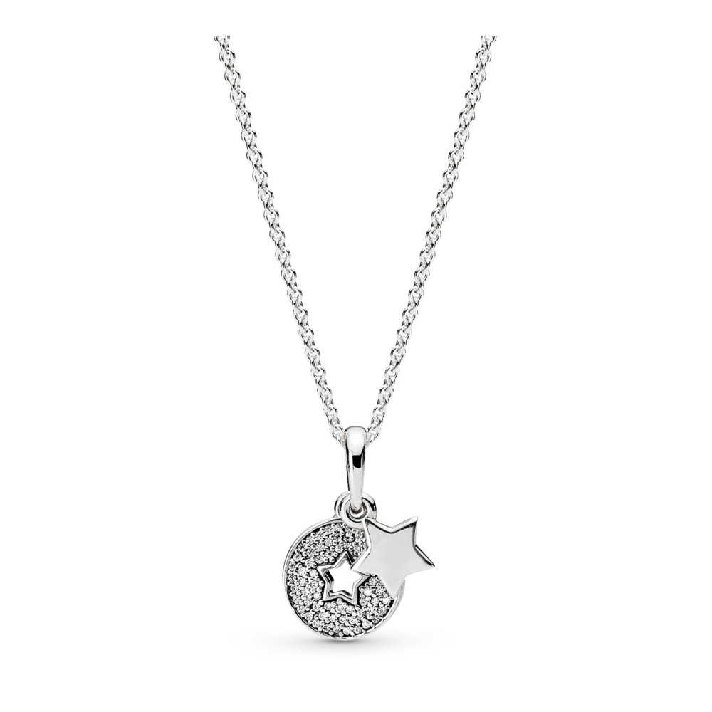 Celebration Stars Necklace, Clear CZ, Sterling silver, Cubic Zirconia - PANDORA - #396375CZ