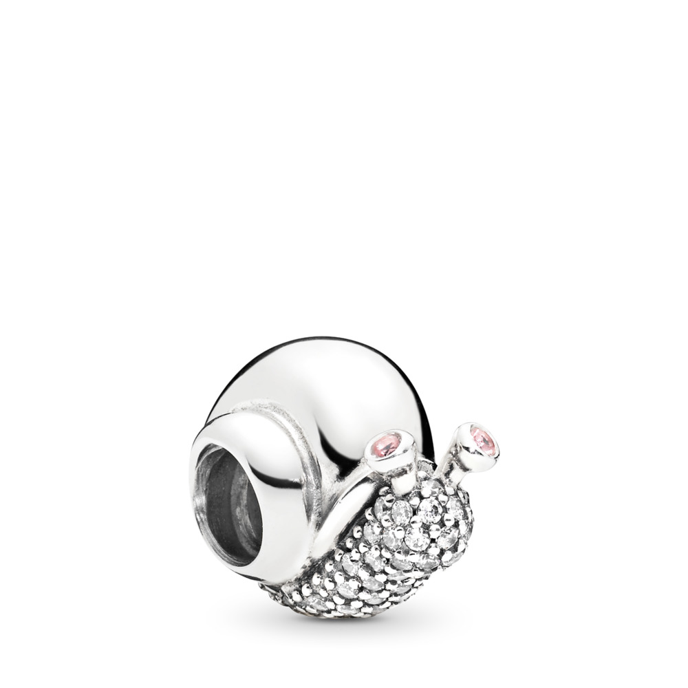 Sparkling Snail Charm, Clear & Orchid CZ, Sterling silver, Pink, Mixed stones - PANDORA - #797063CZ