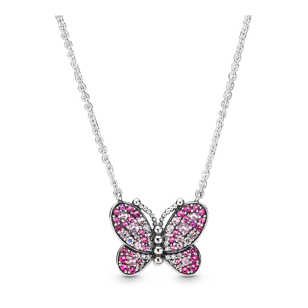 Dazzling Pink Butterfly Necklace, Sterling silver, Silicone, Pink, Mixed stones - PANDORA - #397931NCCMX
